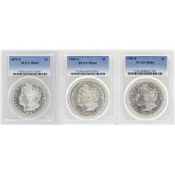 Lot of 1879-S to 1881-S $1 Morgan Silver Dollar Coins PCGS MS64