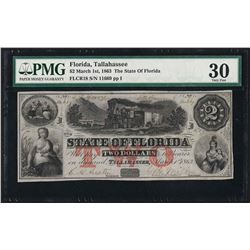 1863 $2 State of Florida Obsolete Currency Note PMG Very Fine 30