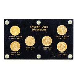 English Gold Sovereigns (6) Coin Type Set