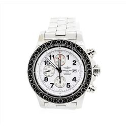 Breitling Super Avenger Stainless Steel Watch with Black Diamond Bezel