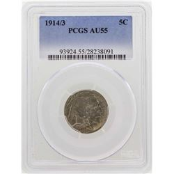 1914/3 Buffalo Nickel Coin PCGS AU55