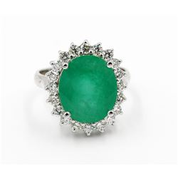 14KT White Gold Certified 6.91 ctw Natural Oval Cut Emerald and Diamond Engageme