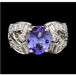 18KT White Gold 2.45 ctw Tanzanite and Diamond Ring