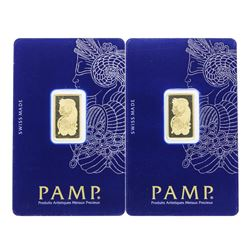 Lot of (2) 5 gram .9999 PAMP Suisse Fine Gold Ingot Bars