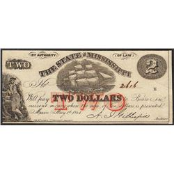1864 $2 The State of Mississippi Obsolete Note