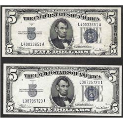 Lot of (2) 1934B $5 Silver Certificate Notes