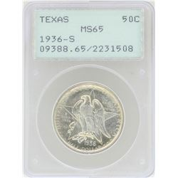 1936-S Texas Commemorative Half Dollar Coin PCGS MS65 Rattler