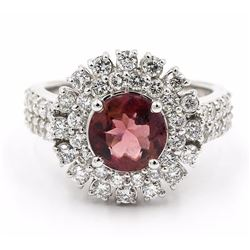 14KT White Gold 3.03 ctw Round Cut Pink Tourmaline and Diamond Engagement Ring