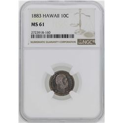1883 Kingdom of Hawaii Dime Coin NGC MS61