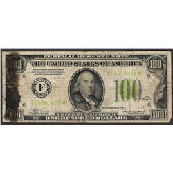 1934 $100 Federal Reserve STAR Note Light Green Seal Low Serial