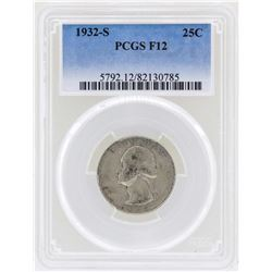 1932-S Washington Quarter Silver Coin PCGS F12