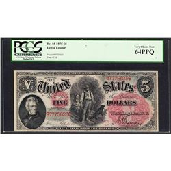 1875 $5 Woodchopper Legal Tender Note Fr.68 PCGS Very Choice New 64PPQ