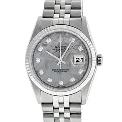 Rolex Mens 36mm Stainless Steel Meteorite Diamond Datejust Wristwatch