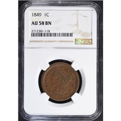 1849 LARGE CENT, NGC AU-58 BN KEY DATE