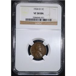 1924-D LINCOLN CENT NGC VF-30 BN