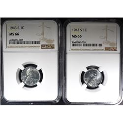 """2-1943-S LINCOLN """"STEEL"""" CENTS, NGC MS-66"""