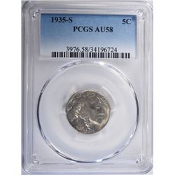 1935-S BUFFALO NICKEL, PCGS AU-58