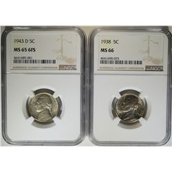 NGC GRADED NICKELS: 1938 MS-66 & 43-D MS-65 6 FS