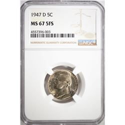 1947-D JEFFERSON NICKEL, NGC MS-67 5FS