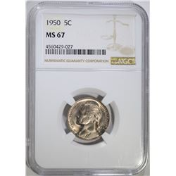 1950 JEFFERSON NICKEL NGC MS67!