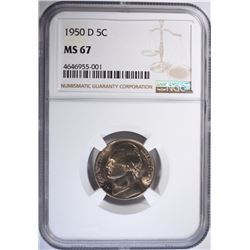 1950-D JEFFERSON NICKEL, NGC MS-67