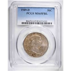 1949-D FRANKLIN HALF DOLLAR, PCGS MS-65 FBL