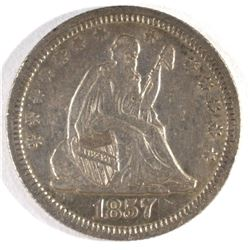 1857 SEATED LIBERTY QUARTER, AU