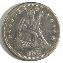 1876-S SEATED LIBERTY QUARTER, AU+