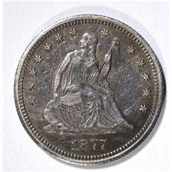 1877-CC SEATED LIBERTY QUARTER, XF