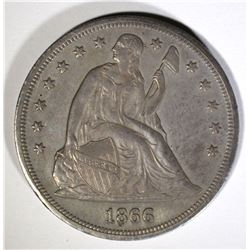 1866 SEATED DOLLAR, AU/BU