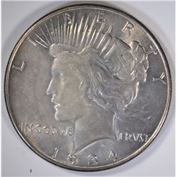 1934 PEACE SILVER DOLLAR, CHOICE BU
