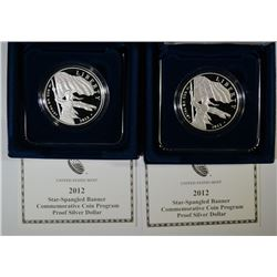 (2) 2012 Star-Spangled Banner Silver Dollars
