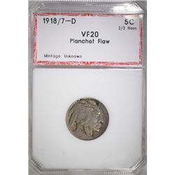 1918/7-D BUFFALO NICKEL PCI VF PLANCHET FLAW