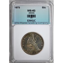 1873 ARROWS SEATED HALF DOLLAR, EMGC CH BU