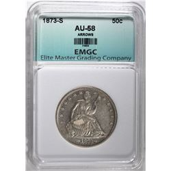 1873-S WITH ARROWS HALF DOLLAR, EMGC AU/BU