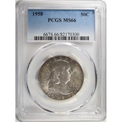 1958 FRANKLIN HALF DOLLAR PCGS MS66