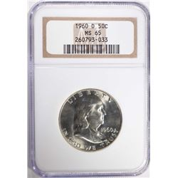 1960-D FRANKLIN HALF DOLLAR NGC MS 65