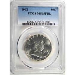 1962 FRANKLIN HALF DOLLAR, PCGS MS-65 FBL!! RARE!!