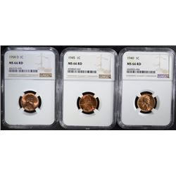 1940, 1945, 1958-D LINCOLN CENTS NGC MS66 RD