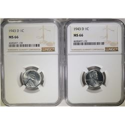 2-1943-D LINCOLN  STEEL  CENTS, NGC MS-66