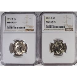 (2) 1943-S JEFFERSON 5¢ NGC MS-65 FS & MS-66 FS