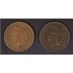 1866 VF mild porosity & 1868 G INDIAN CENTS