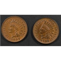 1903 & 1905 INDIAN CENTS, CH BU