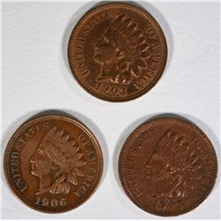 3-INDIAN HEAD CENTS AU 2-1903 & 1-1906