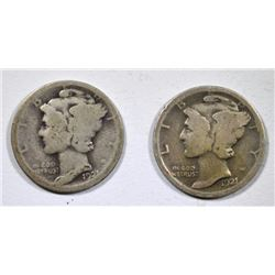 2 - 1921 MERCURY SILVER DIMES - GOOD's