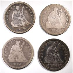 4 SEATED QUARTERS: 1853 A&R QUARTER VF NICE &