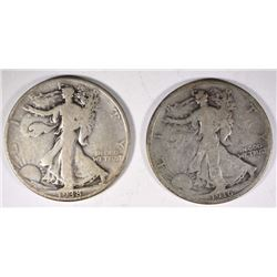 1916 VG & 1938-D VG WALKING LIBERTY HALF DOLLARS