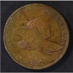 1857 FLYING EAGLE CENT, VF+