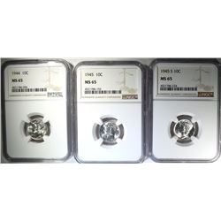 1944, 45 & 45-S MERCURY DIMES, NGC MS-65