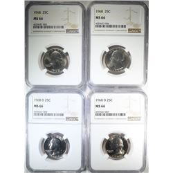 2-1968 & 2-1968-D WASHINGTON QUARTERS NGC MS-66